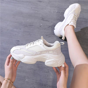RASFAB 109 Genuine Leather Mesh Breathable Women's Platform Sneakers - women shoes - 99fab.com