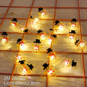 Snowman Christmas Tree LED Garland String Lights