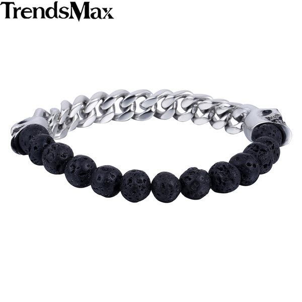 Elastic 8mm Black Lava Rock Stone Bead - halloween - 99fab.com