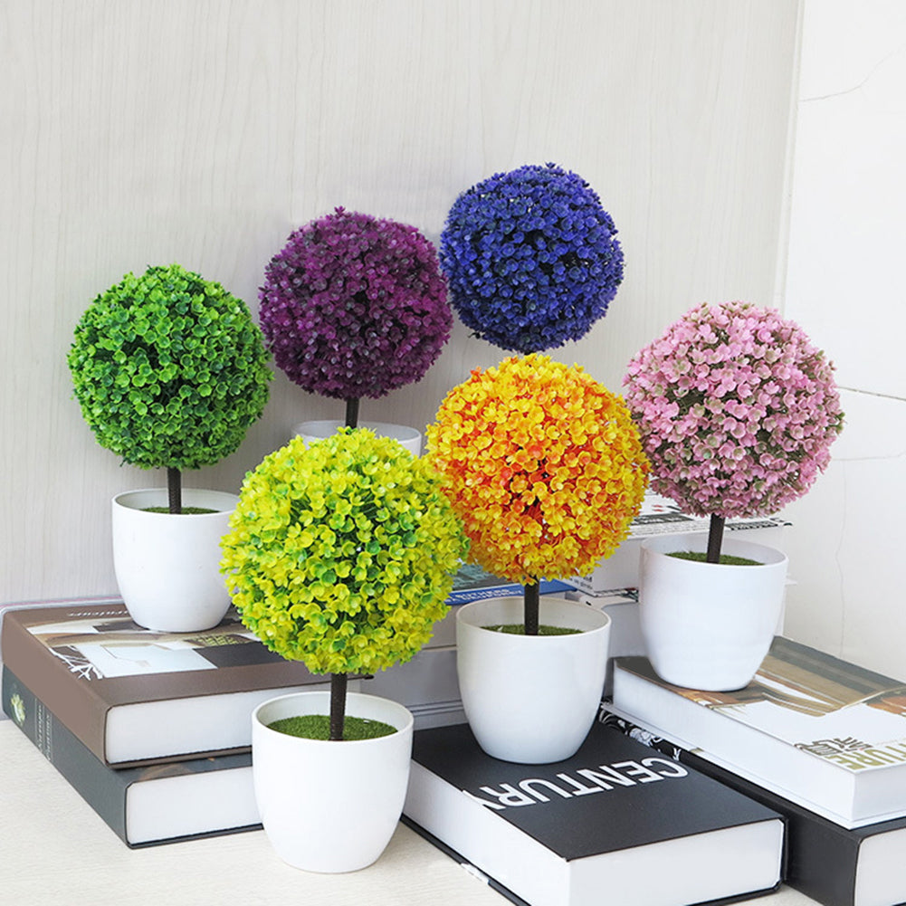Artificial Potted Topiary Ball Shape Bonsai Fake Plant Small Tree Pot Plants - Plant - 99fab.com