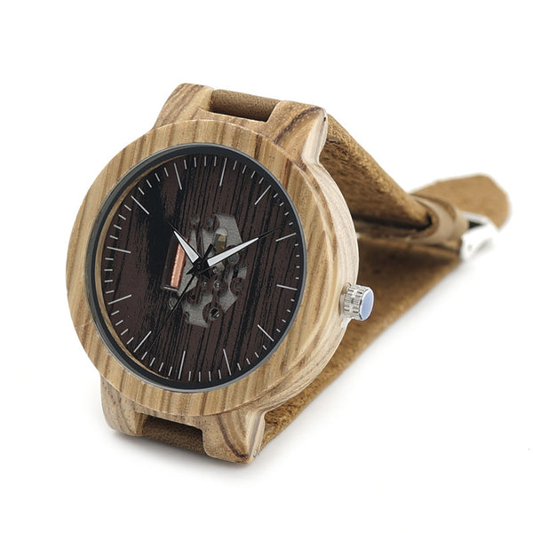BOBO BIRD Men's Wood Watches with Natural Brown Cowhide Leather Strap