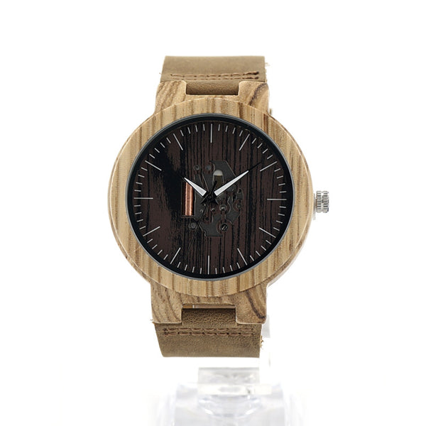 BOBO BIRD Men's Wood Watches with Natural Brown Cowhide Leather Strap - men watches - 99fab.com