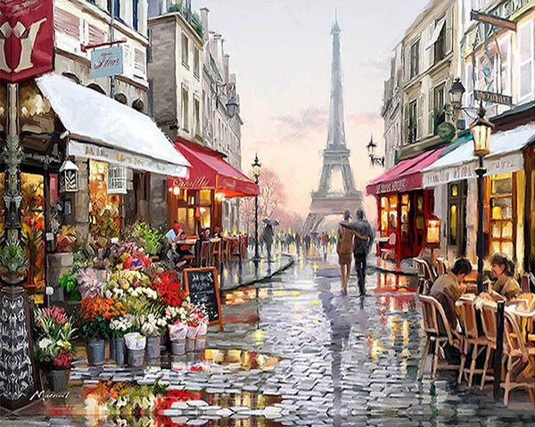 Frameless Paris Street DIY Painting By Numbers Hand painted - art - 99fab.com