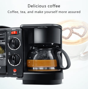 3 In 1 Electric Breakfast Machine Multifunction Coffee maker frying pan mini oven