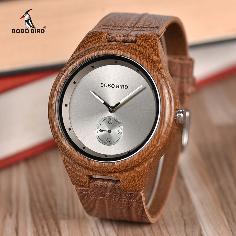 BOBO BIRD Wooden Timepieces Luxury Leather Strap Quartz Watch - watch - 99fab.com