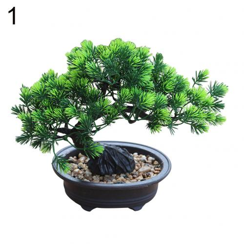 1Pc Artificial Pine Bonsai Small Green Tree Plants with Pot - Plant - 99fab.com
