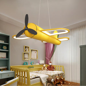 LED chandeliers light airplane blue yellow lights for children room