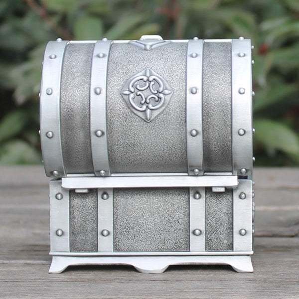 Pewter plated rectangular shape metal jewelry trinket money box