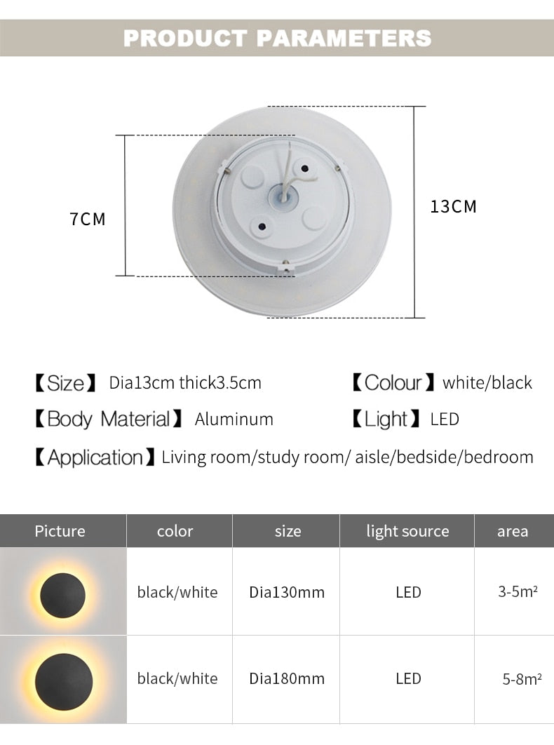 Indoor LED Round Nordic Wall Lamps