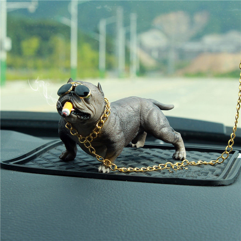 Car Bully Pitbull Dog Decoration Creative Car Interior Simulation Dog Ornaments