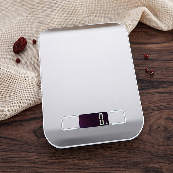 10kg Ultra Slim Digital Kitchen Scale Stainless Steel Weighing Surface