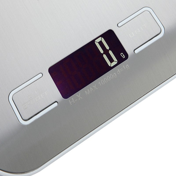 10kg Ultra Slim Digital Kitchen Scale Stainless Steel Weighing Surface - kitchen - 99fab.com