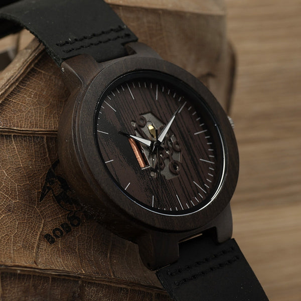 BOBO BIRD Black Wood Mens Watches