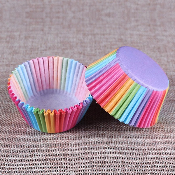 100 pcs rainbow cupcake paper - kitchen - 99fab.com