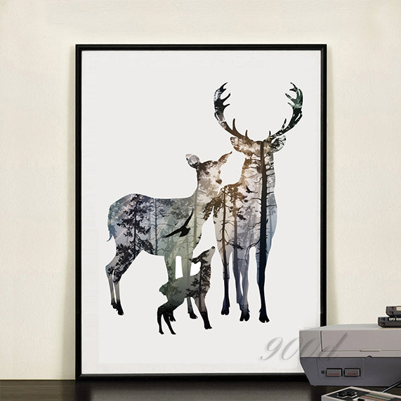 Silhouette of Deer Family with Pine Forest Canvas Art Print Painting Poster, Wall Picture for Home Decoration, Home Decor FA396 - wall art - 99fab.com