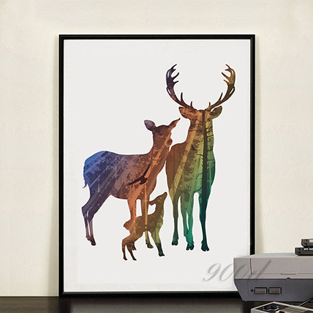 Silhouette of Deer Family with Pine Forest Canvas Art Print Painting Poster - wall art - 99fab.com
