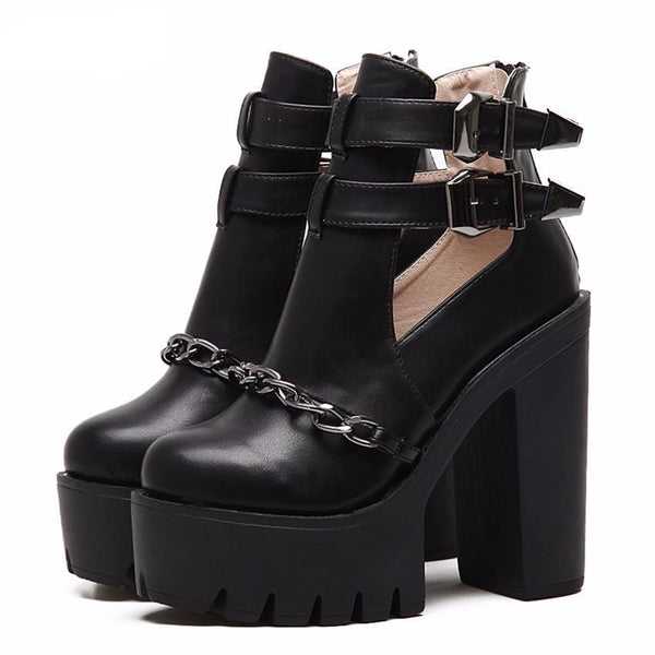 Ankle Boots Thick Heels Platform - women shoes - 99fab.com