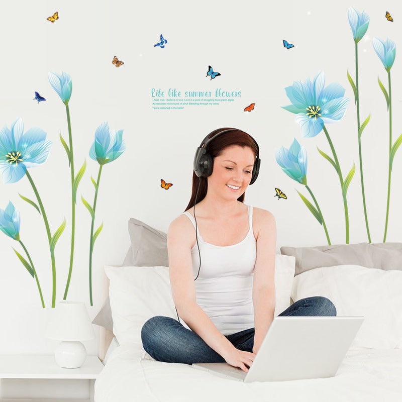 3D Blue Lily Flower Sticker Mural DIY Wall Decals - wall sticker - 99fab.com