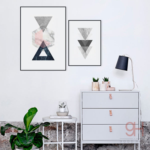 Nordic Style Vintage Geometric Canvas Art Print Poster - wall art - 99fab.com