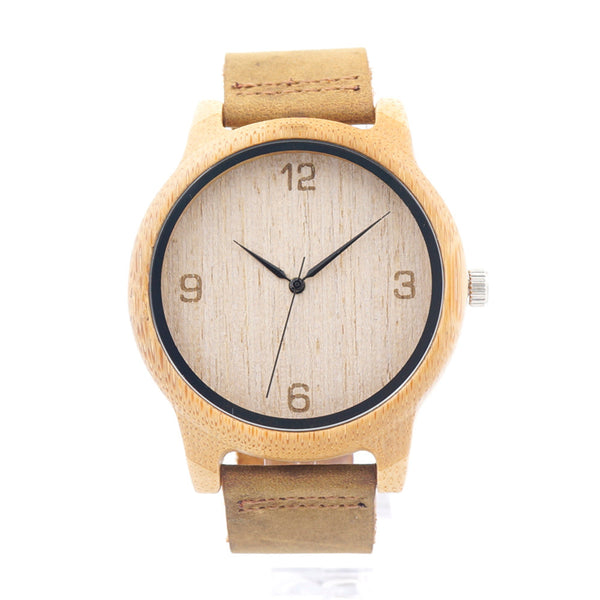 BOBO BIRD  Women Casual Antique Round Wooden Watch With Leather Strap