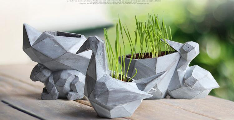 Mini Flowerpot Paper Cranes Shape Animal Bonsai Planter Pots - decor - 99fab.com