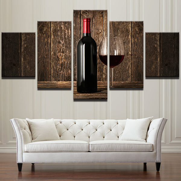 Vintage 5 Panels Red Wine And Wine Bottle Canvas Wall Art