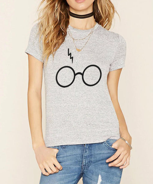 Glasses Lightning Print T shirts for Women - women clothing - 99fab.com
