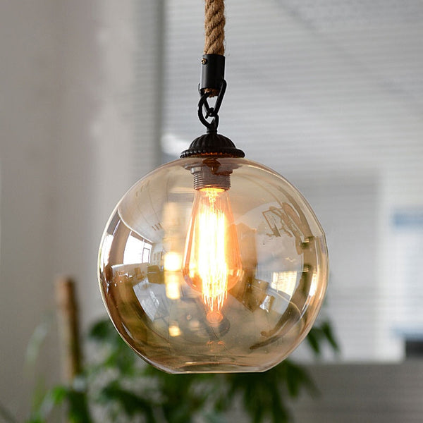 Loft Vintage retro Industrial Glass Ball Hemp rope Pendant Lights E27 lamp