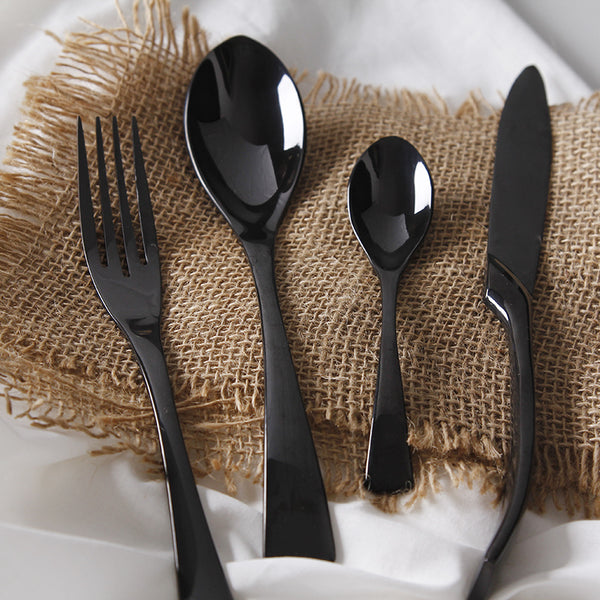 4Pcs/ Black Cutlery Set Stainless Steel Western Food Tableware - kitchen - 99fab.com
