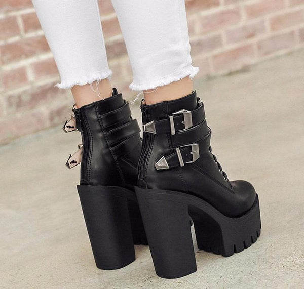 High Heels Platform Buckle Lace Up Boots - women shoes - 99fab.com