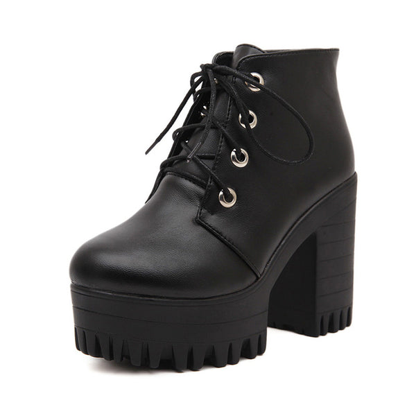 Women Black High Heels Boots