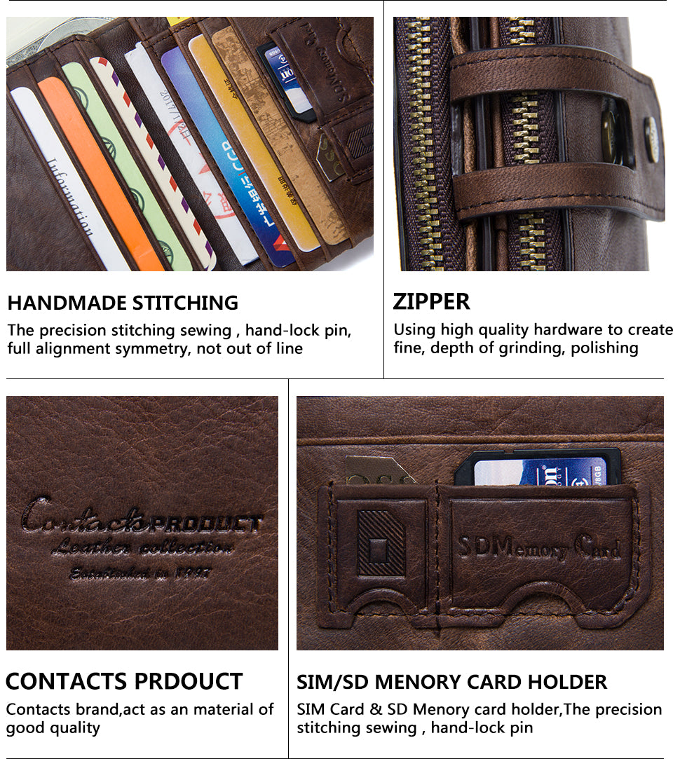 CONTACT'S Genuine Crazy Horse Leather Mens Wallet - wallets - 99fab.com