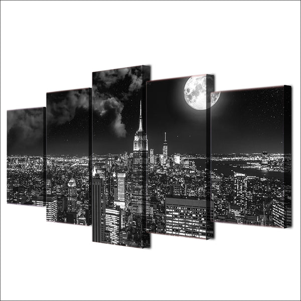 HD Prints 5 Pieces Surreal City Night Brightly Landscape Painting - wall art - 99fab.com
