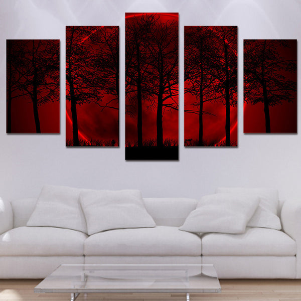5 Panel Red Moon Sky Psychedelic Forest Painting Modern Canvas Wall Art - wall canvas - 99fab.com