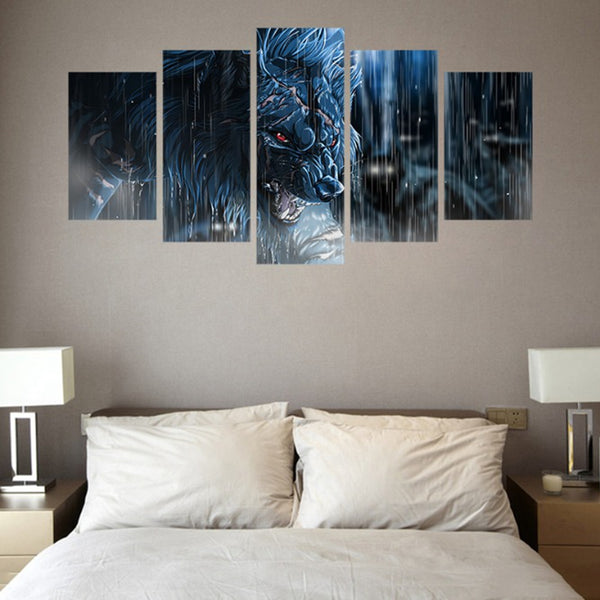 5 Pieces Rainy Day Fierce Wolf HD printed canvas
