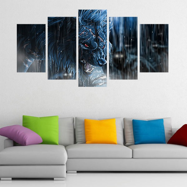 5 Pieces Rainy Day Fierce Wolf HD printed canvas - wall art - 99fab.com