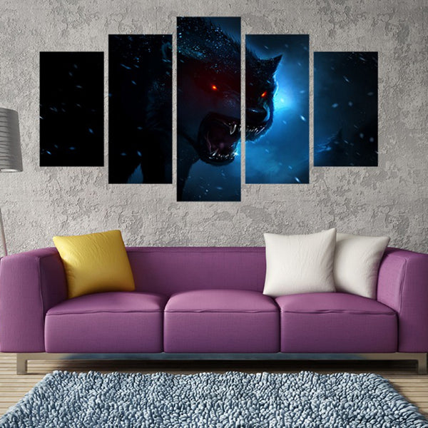 5 Pieces Animal Luminous Anger Wolf Painting HD Prints - wall art - 99fab.com
