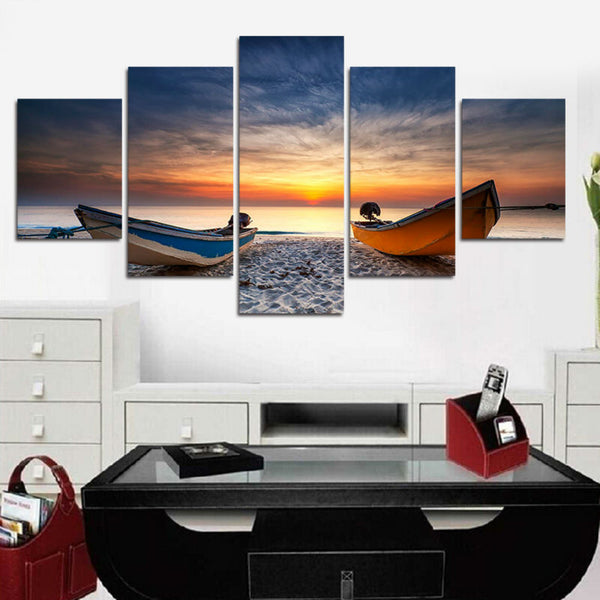 HD Printed 5 Pieces Beach Boat Canvas Painting - wall art - 99fab.com