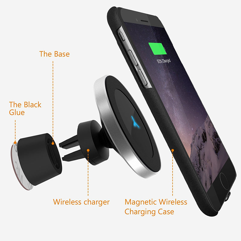 QI Standard Magnetic Car Phone Wireless Charger - gadget - 99fab.com