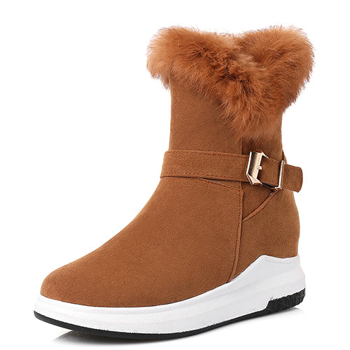 Real Fur Flats Winter Ankle Boots