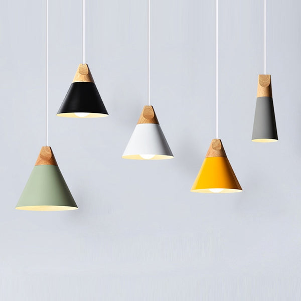 Modern Wood Pendant Lights LED Hanglamp Colorful Pendant Lamps lamparas