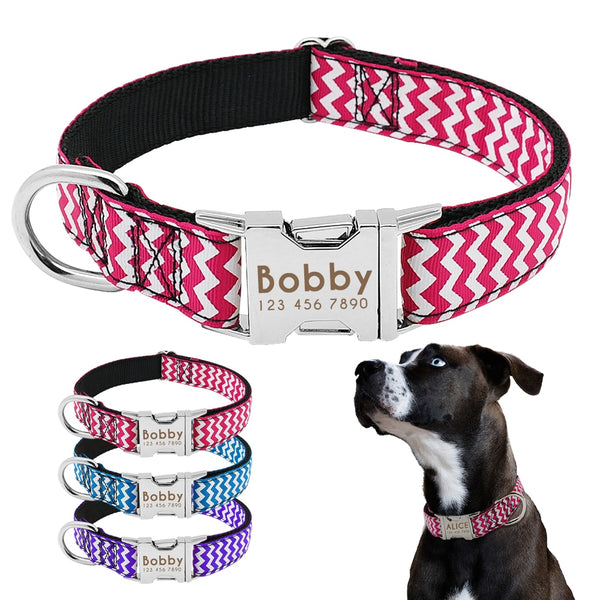 Dog Collar Nylon Personalized Engraved ID Tag AntiLost Adjustable Collars