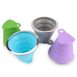 270ML Collapsible Travel Coffee cups Stainless Steel Silicone Retractable Folding Telescopic - kitchen - 99fab.com