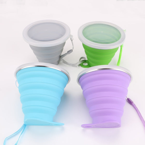 270ML Collapsible Travel Coffee cups Stainless Steel Silicone Retractable Folding Telescopic