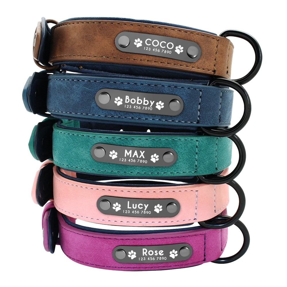 Personalized Leather Dog Collars Custom Pet Name ID Free Engraving - pets - 99fab.com