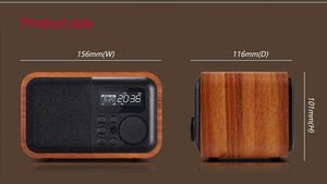 Wooden Bluetooth Speaker FM Radio Alarm Clock Display Time USB TF Card - Gadgets - 99fab.com