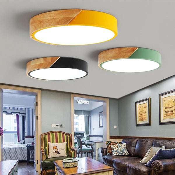 Nordic Modern Colorful Wood led Ceiling Lights Bedroom Round thin Lighting lamparas