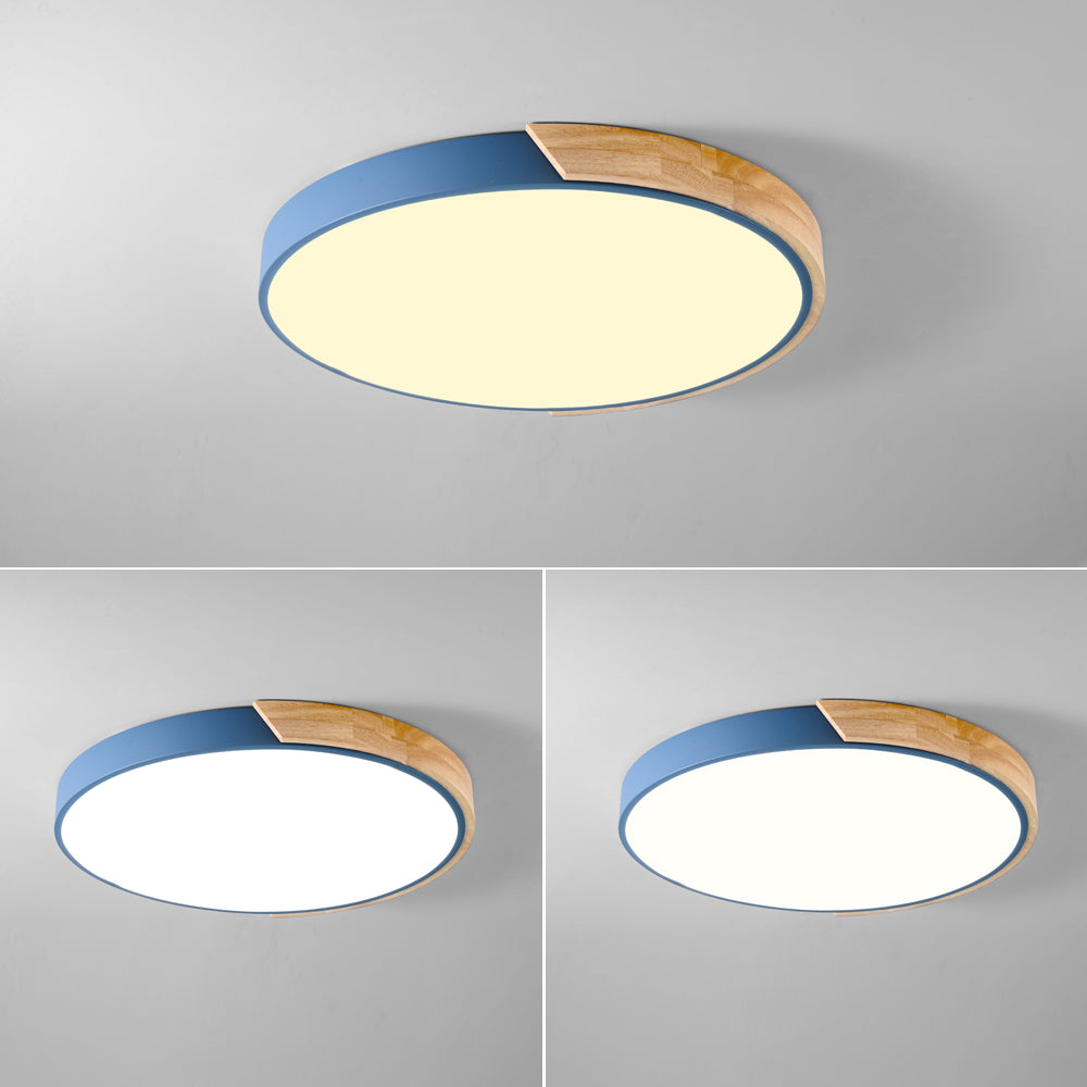 Nordic Modern Colorful Wood led Ceiling Lights Bedroom Round thin Lighting lamparas - ceiling lights - 99fab.com