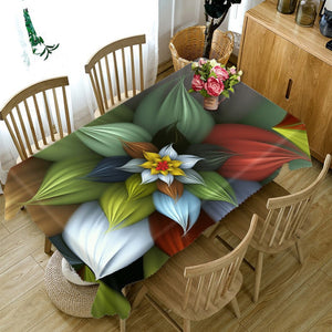 Waterproof 3D Flower printed rectangular tablecloth - tablecloth - 99fab.com