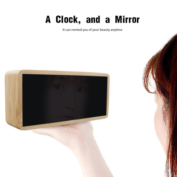 Bamboo Wooden Mirror Alarm Clocks - alarm clock - 99fab.com